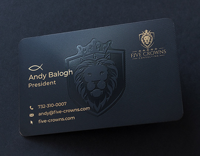 Five Crowns Consulting metal business cards