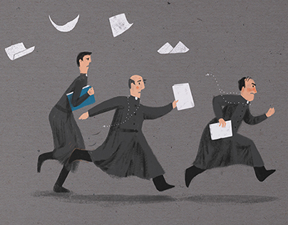 Bookkeeper running illustration