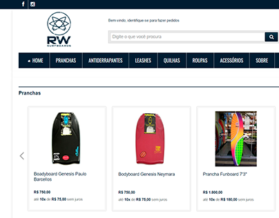 RW Surfboards: Facebook e Site