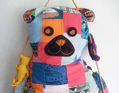 Patchwork bear pillow