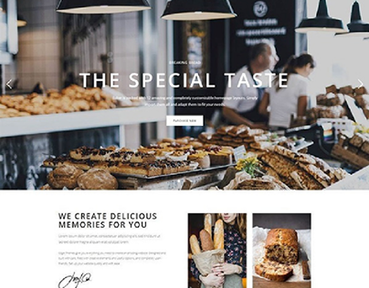 Landing page for bakery