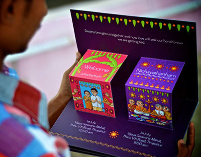 Creative Pop Up South Indian Wedding Invite Design