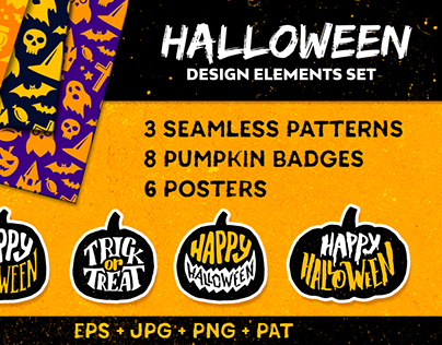 Halloween design elements. Vector illustrations