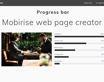 Mobirise web page creator - Progress bar LawyerAMP them