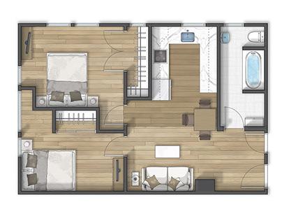 Floor plan 2D rendering in Berkeley California EEUU