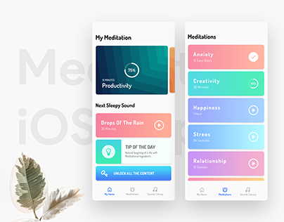 Selected Screens: Meditation iOS App