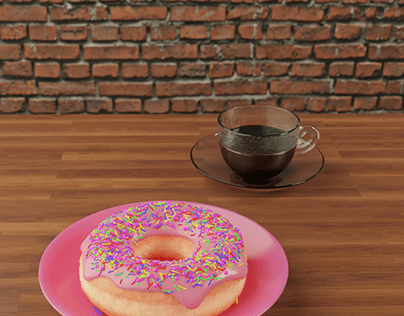 3D Donut and American Coffee