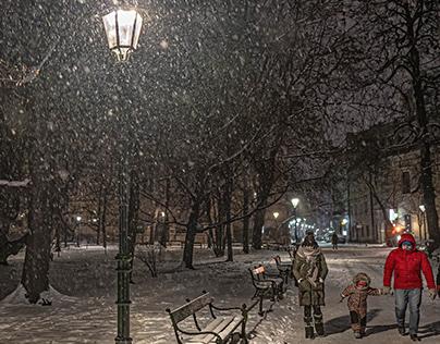 Lanterns and snow