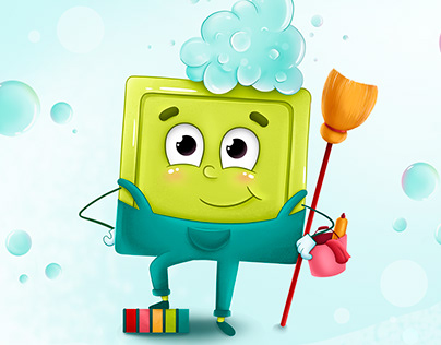 Brand character design for cleaning company