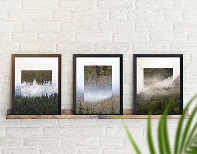 Mountain wall art. Forest, fog & reflect.