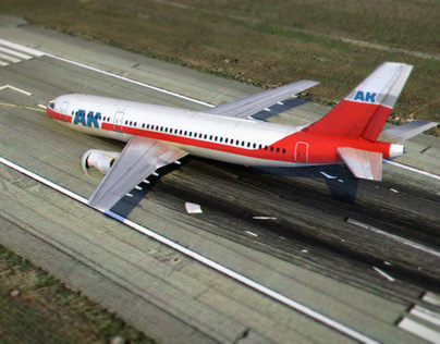 Aircraft crash on the Runway - 3d turntable