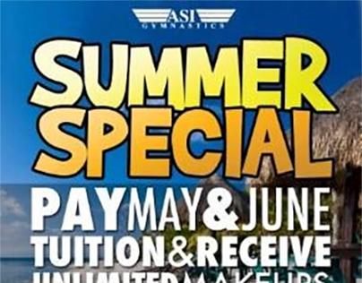 ASI Gymnastics Summer Special Flyer