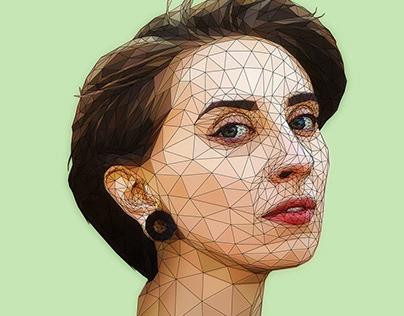 Polygonal Girl Art portrait