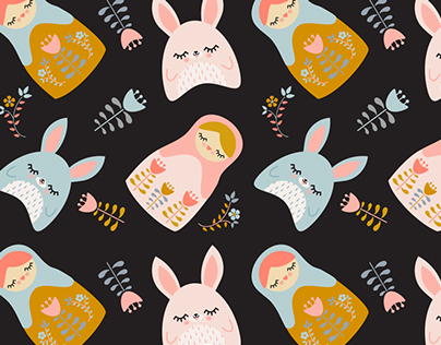 Bunnies & Nesting Dolls Nursery Prints