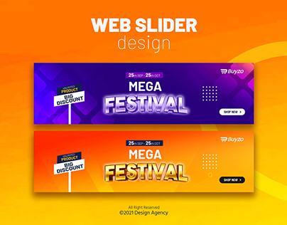 Mega Festival web slider banner design