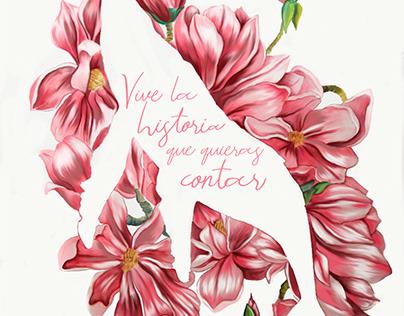 Ilustración Digital Ballena Magnolia