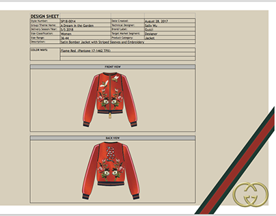 Gucci Inspired Project with Tech Pack and Sales Report.