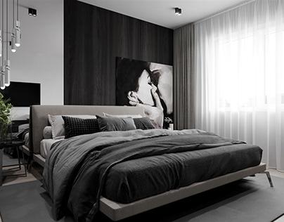 Monochrome minimalism in the apartment