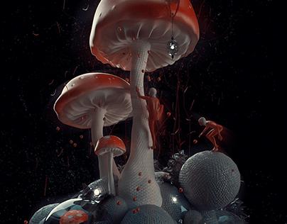Mushroom People - Adobe Dimension render