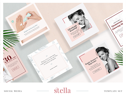 Stella - Cosmetics & Beauty Social Media Template Set