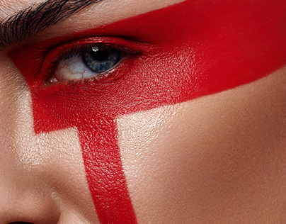 Beauty Woman with futuristic tribal red Stripes Makeup