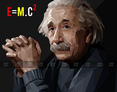 Albert Einstein In Lowpoly Art