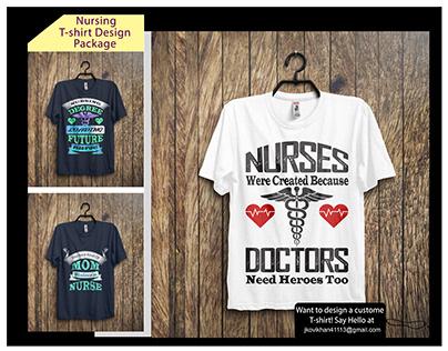 There are Custom nursing T-shirt Designs Bundle.