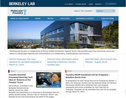 The Molecular Foundry Website redesign