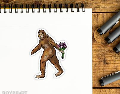 Romantic Sasquatch sticker