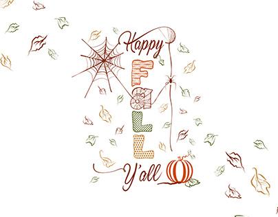 Free Handwritten Happy Fall Y'all SVG