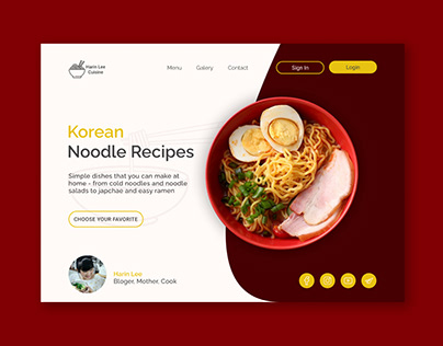 Korean noodle recipes main screen concept