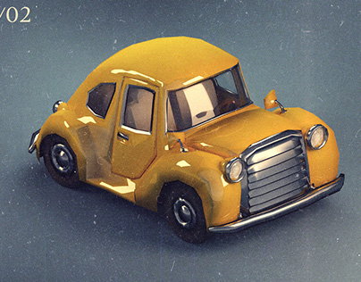 low poly car concept for game