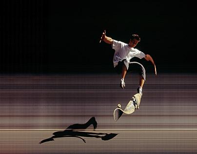 Synchroballistic skateboarding