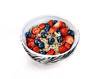 Food illustration: oats & berries breakfast