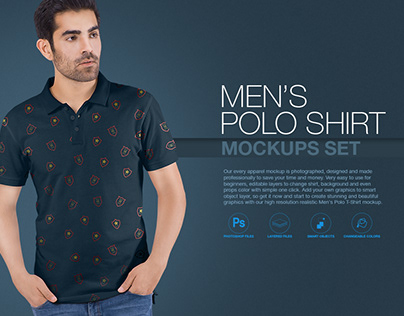 Men's Polo T-Shirt Mockups Set