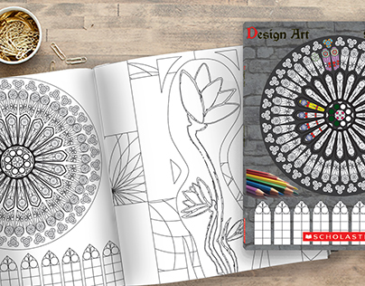 Coloring book design (based on stained glass)