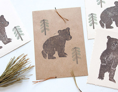 Hand stamped cards and envelopes
