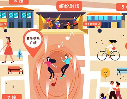 Binfenli Town mall map