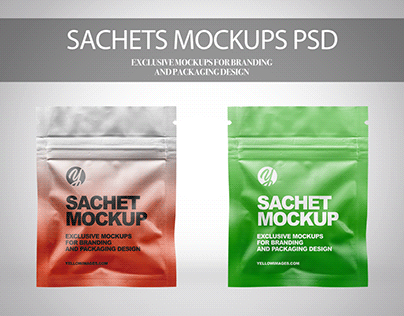 Sachets with Zip Lock Mockups PSD