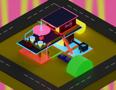 Gas Station in Low Poly_Kulish ArtSpace