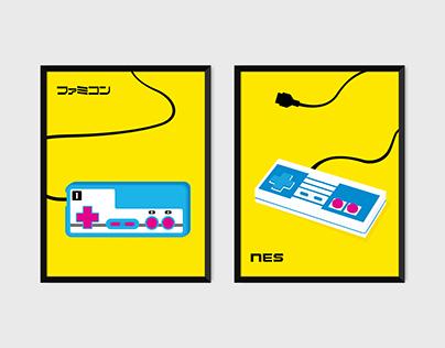 Famicom + NES bright Pop Art Prints