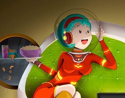 Watching tv in the moon / Viendo tv en la luna