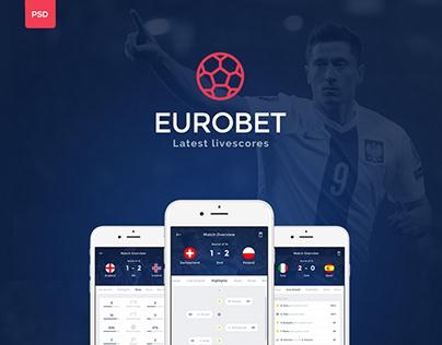 Euro Bet Live Soccer App Design