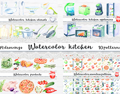 Watercolor kitchen