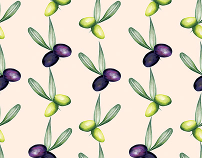 Watercolour food pattern -Olives