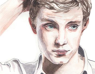 Facial expressions - Man thinking - watercolor