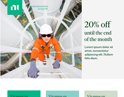 Email design for National Instruments e commerce