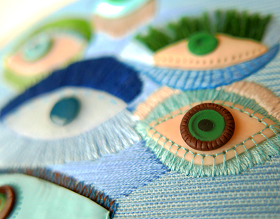 Strange eyes - 3D mixed-media embroidery