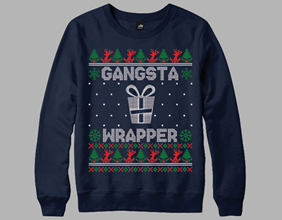 Gangsta Wrapper Ugly Christmas Sweatershirt
