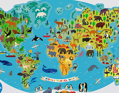 Map Of The World With Animals.